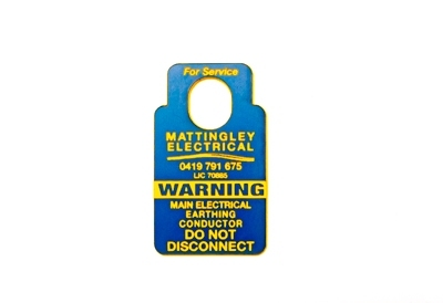 Electrical Earthing Warning Tags